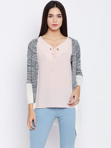 U.S. Polo Assn. Women Navy & Off-White Self Design Cardigan U.S. Polo Assn. Women Sweaters at myntra