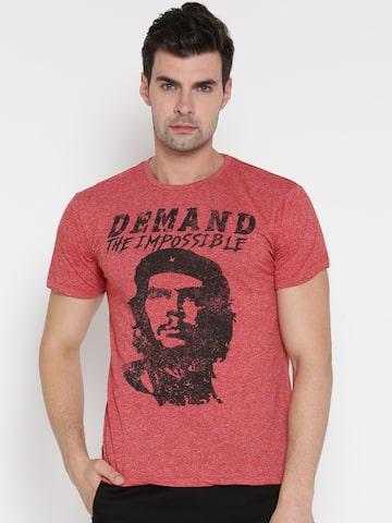CHE GUEVARA Men Red Printed Round Neck T-shirt CHE GUEVARA Tshirts at myntra