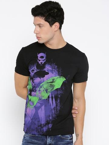 Batman Men Black Printed Round Neck T-shirt Batman Tshirts at myntra