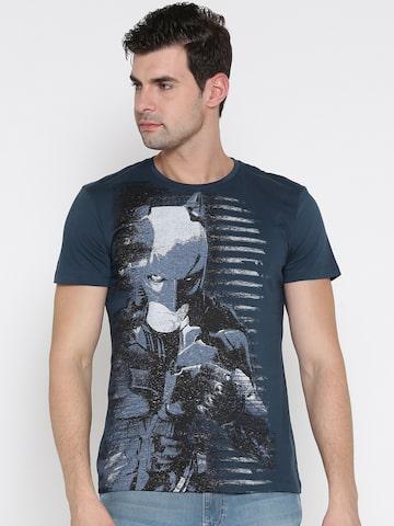 Batman Men Navy Blue Printed Round Neck T-shirt Batman Tshirts at myntra