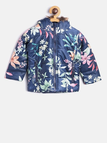 Baby League Girls Navy Blue Printed Padded Jacket Baby League Jackets at myntra