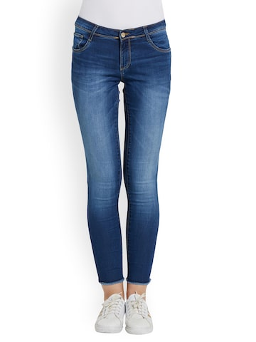 Kraus Jeans Women Blue Skinny Fit Mid-Rise Clean Look Jeans Kraus Jeans Jeans at myntra