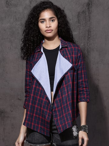 Roadster Navy Blue & Red Checked Lapel Shrug Roadster Shrug at myntra
