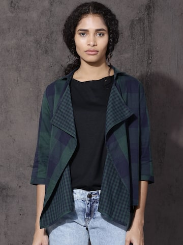 Roadster Green & Navy Blue Checked Open Front Shrug Roadster Shrug at myntra
