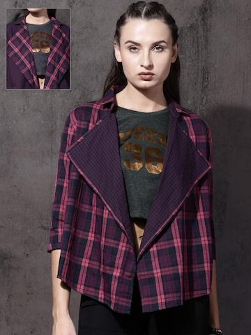 Roadster Pink & Navy Checked Open Front Shrug Roadster Shrug at myntra