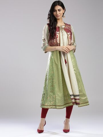 W Women Off-White & Golden Printed Anarkali Kurta with Printed Ethnic Jacket W Kurtas at myntra