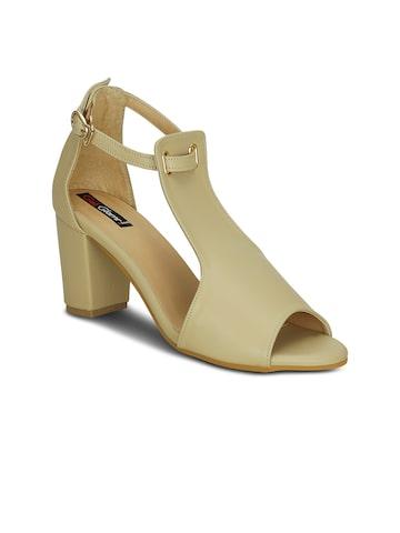 Get Glamr Women Beige Solid Block Heels Get Glamr Heels at myntra