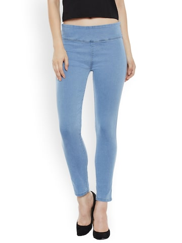 Miss Chase Blue Super Skinny Fit Jeggings Miss Chase Jeggings at myntra