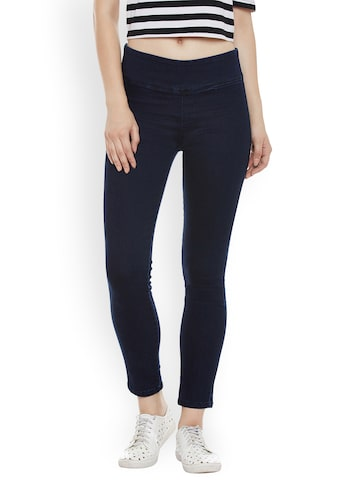 Miss Chase Navy Blue Super Skinny Fit Jeggings Miss Chase Jeggings at myntra