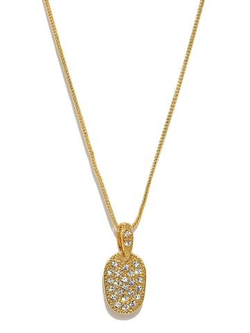 Estelle Gold-Toned Stone-Studded Pendant with Chain Estelle Pendant at myntra