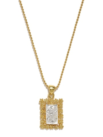 Estelle Women Gold-Plated Rectangular Pendant With Chain Estelle Pendant at myntra