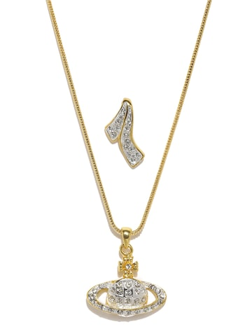 Estelle Set of 2 24kt Gold-Plated Stone-Studded Pendants with Chain Estelle Pendant at myntra