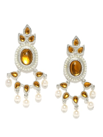 Estelle Silver-Toned & Brown Floral Drop Earrings Estelle Earrings at myntra
