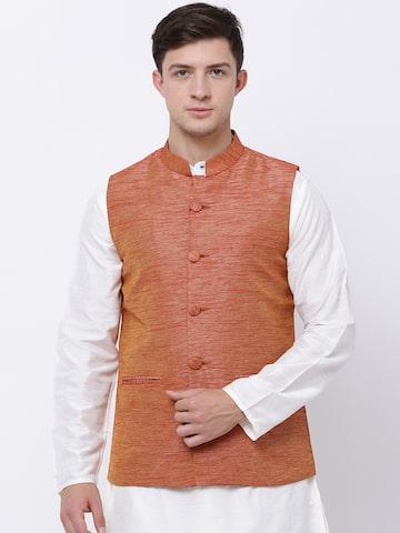 Svanik Orange Nehru Jacket Svanik Waistcoat at myntra