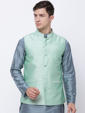 Svanik Sea Green Nehru Jacket Svanik Waistcoat at myntra