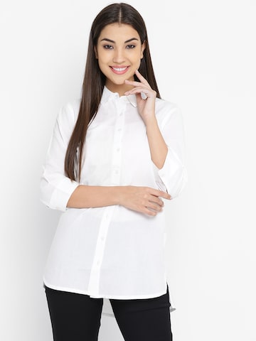 United Colors of Benetton Women White Solid Casual Shirt United Colors of Benetton Shirts at myntra