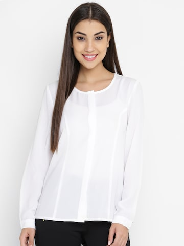 United Colors of Benetton Women White Solid Shirt-Style Top United Colors of Benetton Tops at myntra