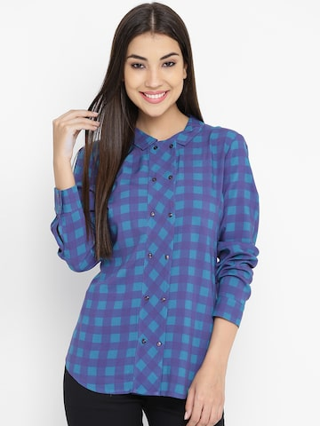 United Colors of Benetton Women Blue Checked Casual Shirt United Colors of Benetton Shirts at myntra