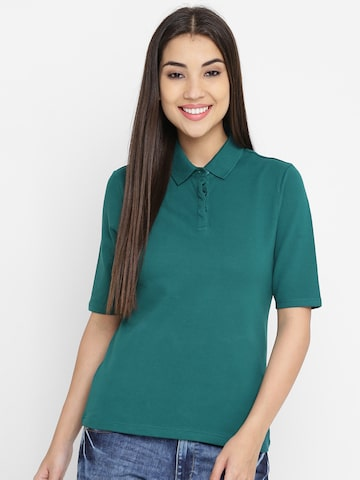 United Colors of Benetton Women Teal Green Solid Polo Collar T-shirt United Colors of Benetton Tshirts at myntra