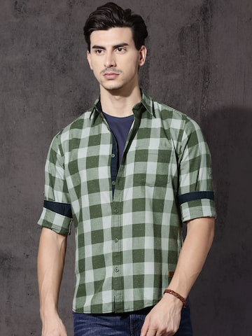 Roadster Men Olive Green & Grey Regular Fit Checked Casual Shirt Roadster Shirts at myntra