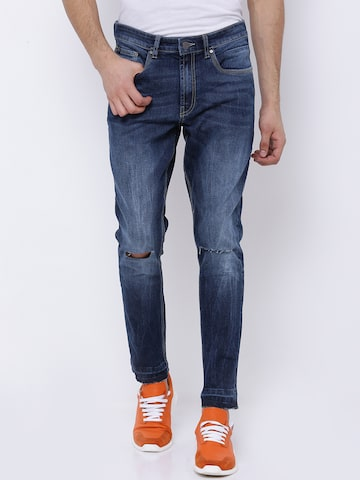 LOCOMOTIVE Men Blue Tapered Fit Mid-Rise Low Distress Stretchable Jeans LOCOMOTIVE Jeans at myntra