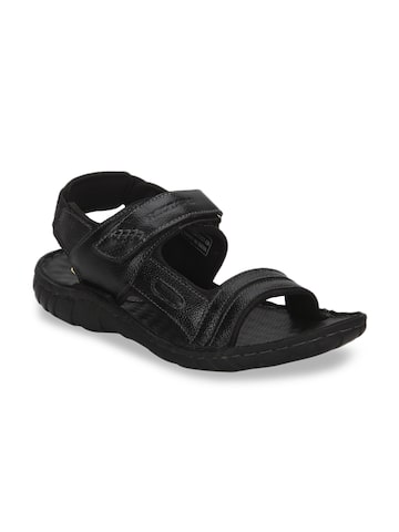 Red Tape Men Black Leather Sandals Red Tape Sandals at myntra