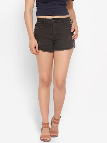 Deal Jeans Women Black Solid Denim Shorts Deal Jeans Shorts at myntra