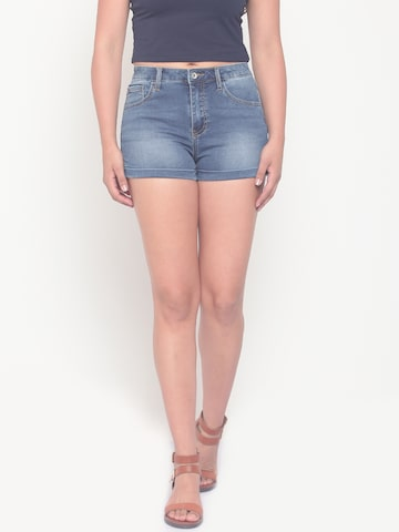 Deal Jeans Women Blue Solid Denim Shorts Deal Jeans Shorts at myntra