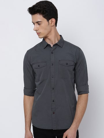 LOCOMOTIVE Men Grey Slim Fit Solid Casual Shirt LOCOMOTIVE Shirts at myntra