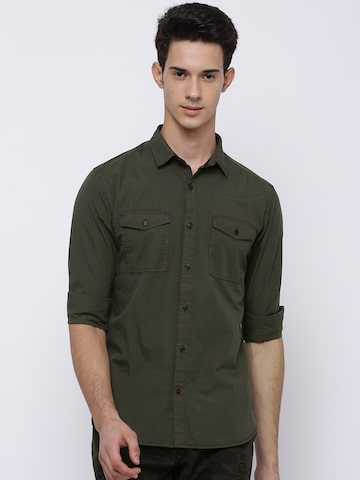 LOCOMOTIVE Men Olive Green Slim Fit Solid Casual Shirt LOCOMOTIVE Shirts at myntra