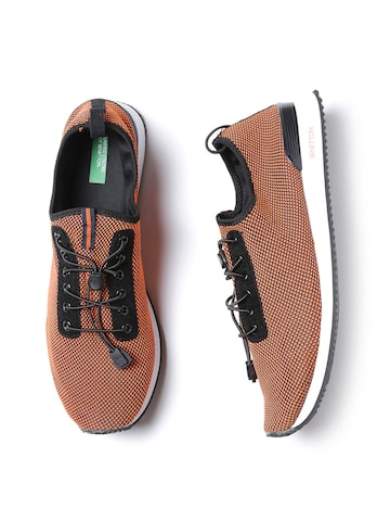 United Colors of Benetton Men Orange Patterned Sneakers United Colors of Benetton Casual Shoes at myntra