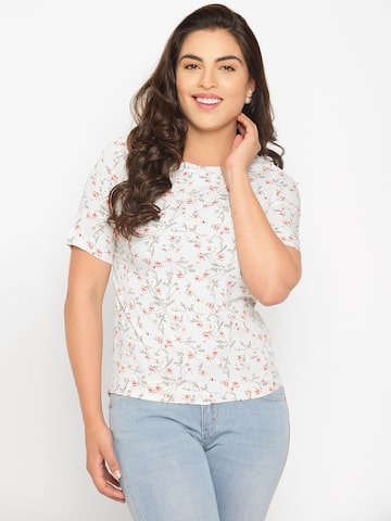 Wills Lifestyle Women Grey & Red Printed Top Wills Lifestyle Tops at myntra