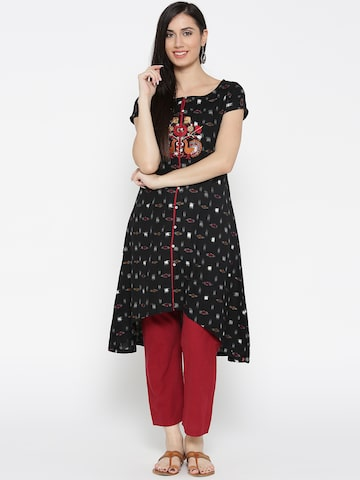 Biba Women Black & White Ikat Patterned A-Line Kurta Biba Kurtas at myntra