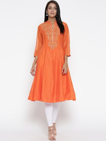 Biba Women Orange Embellished Anarkali Kurta Biba Kurtas at myntra