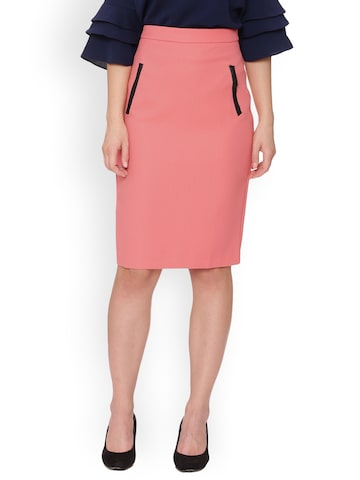 Avirate Coral Orange Pencil Skirt Avirate Skirts at myntra
