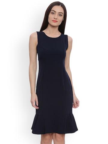 Avirate Women Navy Blue Solid Sheath Dress Avirate Dresses at myntra