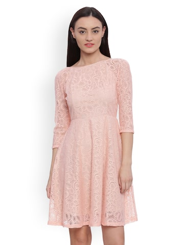 Avirate Women Peach-Coloured Self Design Fit and Flare Dress Avirate Dresses at myntra
