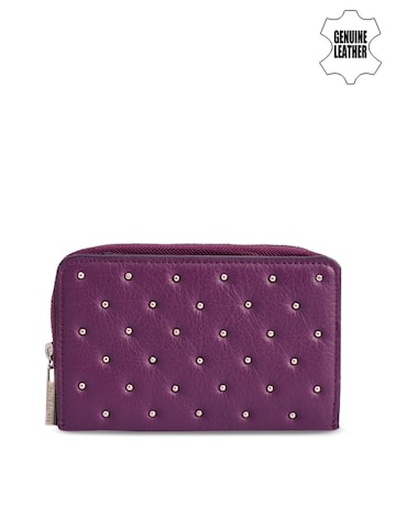 Phive Rivers Women Purple Solid Two Fold Leather Wallet Phive Rivers Wallets at myntra
