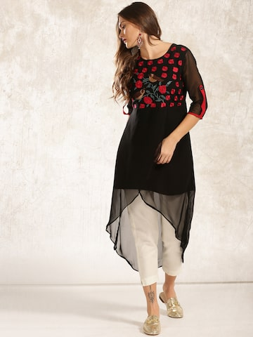 Anouk Women Black Embroidered A-Line Kurta Anouk Kurtas at myntra