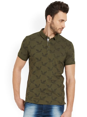 SPYKAR Men Olive Green Printed Polo Collar T-shirt SPYKAR Tshirts at myntra