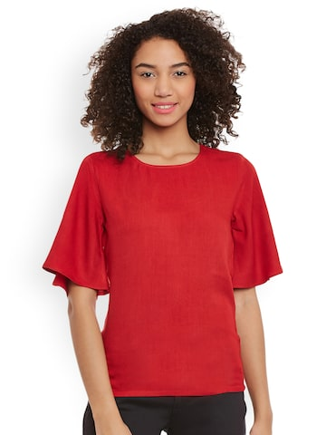 Femella Women Red Solid Fitted Top Femella Tops at myntra