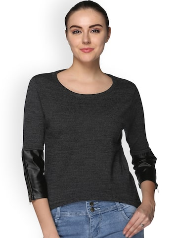 Club York Women Charcoal Grey Solild Pullover Club York Sweaters at myntra