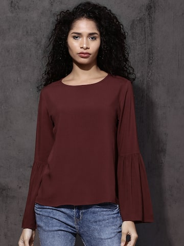 Roadster Women Maroon Solid Top Roadster Tops at myntra