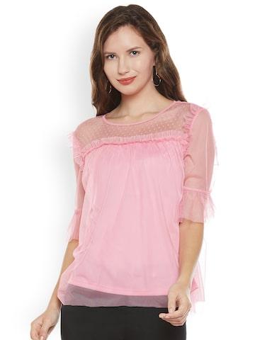 Citrine Women Pink Solid Semi-Sheer Top Citrine Tops at myntra