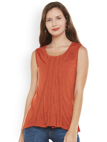 Citrine Women Rust Orange Solid Top Citrine Tops at myntra