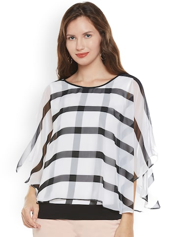 Citrine Women White & Black Checked Layered Top Citrine Tops at myntra