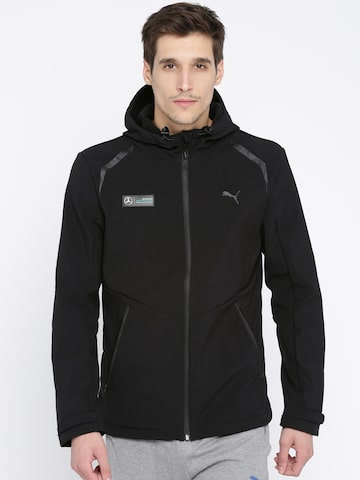 Puma Men Black Solid Sporty AMG Petronas Jacket Puma Jackets at myntra