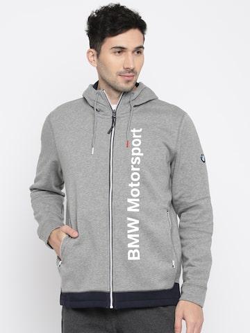 Puma Men Grey Melange Printed BMW MSP Hooded Midlayer Sweatshirt Puma Sweatshirts at myntra