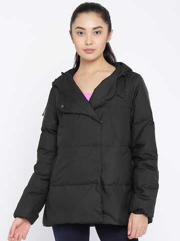 Puma Women Black Solid Padded Jacket Puma Jackets at myntra