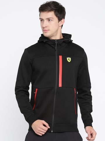 Puma Ferrari Men Black SF Hooded Printed Padded Jacket Puma Jackets at myntra